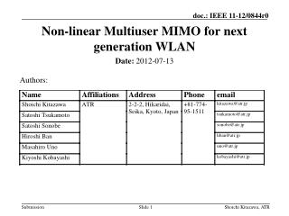 Non-linear Multiuser  MIMO for  next generation  WLAN