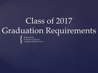 Class of 2017  Graduation Requirements