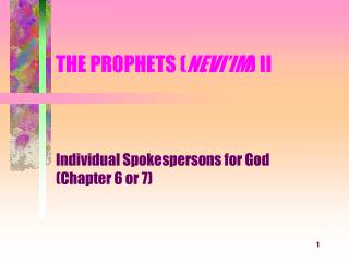 THE PROPHETS ( NEVI'IM ) II