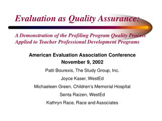 Evaluation as Quality Assurance: