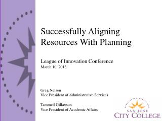 Successfully Aligning Resources With Planning League of Innovation Conference March 10, 2013