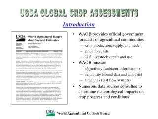USDA GLOBAL CROP ASSESSMENTS