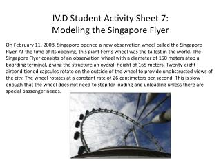 IV.D Student Activity Sheet 7: Modeling the Singapore Flyer