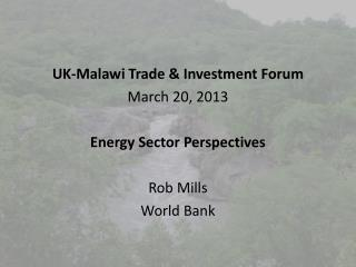 UK-Malawi Trade & Investment Forum March 20, 2013 Energy Sector Perspectives Rob Mills World Bank