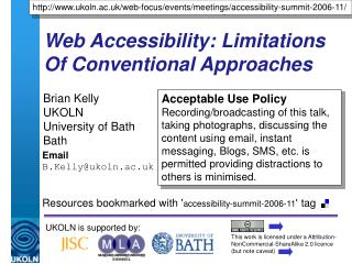 Web Accessibility: Limitations Of Conventional Approaches