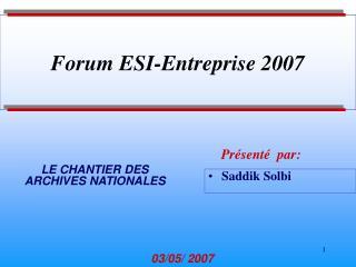 Forum ESI-Entreprise 2007