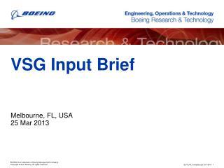 VSG Input  Brief