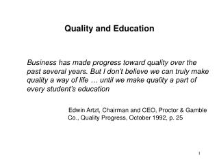 Quality and Education