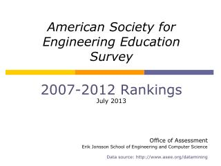 American Society for  Engineering Education  Survey 2007- 2012  Rankings July 2013