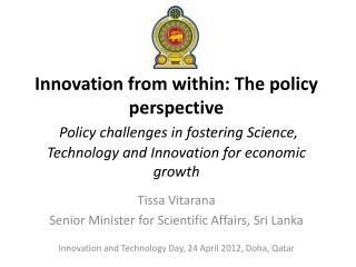 Innovation and Technology Day, 24 April 2012, Doha, Qatar