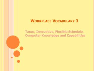 Workplace Vocabulary 3