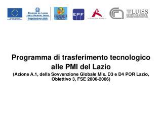 Programma di trasferimento tecnologico alle PMI del Lazio