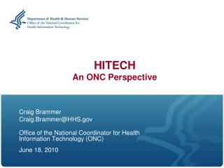 HITECH An ONC Perspective