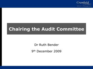 Chairing the Audit Committee