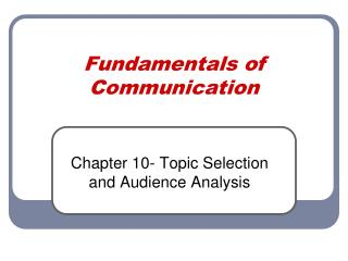 Fundamentals of Communication