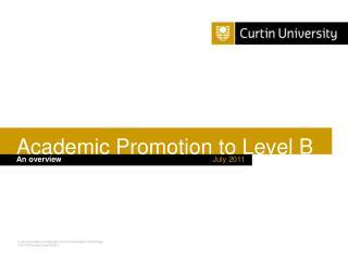 Academic Promotion to Level B