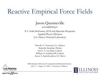 Reactive Empirical Force Fields