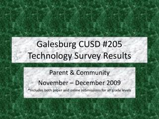 Galesburg CUSD #205 Technology Survey Results
