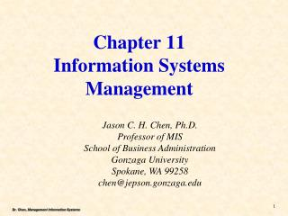 Chapter 11 Information Systems Management