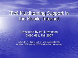 IPv6 Multihoming Support in the Mobile Internet