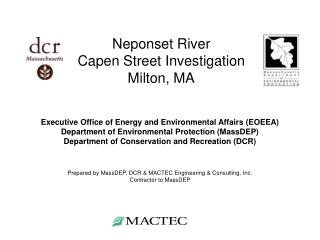 Neponset River  Capen Street Investigation Milton, MA