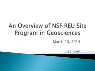 An Overview of NSF REU Site Program in Geosciences