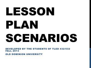Lesson Plan Scenarios