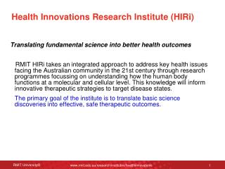 Health Innovations Research Institute (HIRi)