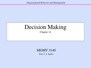 Decision Making Chapter 14