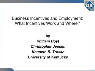 Business Incentives and Employment:   What Incentives Work and Where?