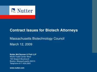 Contract Issues for Biotech Attorneys