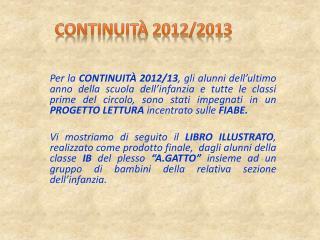 Continuità 2012/2013