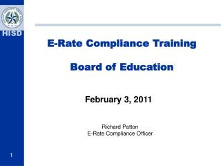 E-Rate Compliance Training Board of Education