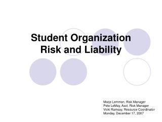 Student Organization Risk and Liability