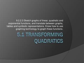 5.1 Transforming Quadratics