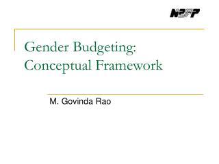 Gender Budgeting: Conceptual Framework