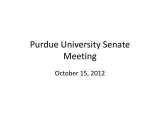Purdue University Senate Meeting