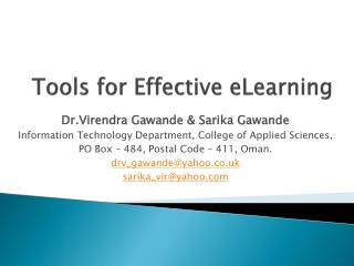 Tools for Effective eLearning