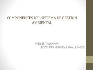 COMPONENTES DEL SISTEMA DE GESTION AMBIENTAL