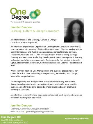 Jennifer  Denoon Learning, Culture & Change Consultant