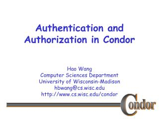 Authentication and Authorization in Condor
