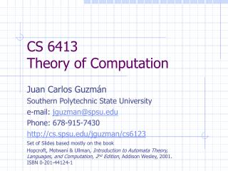 CS 6413 Theory of Computation