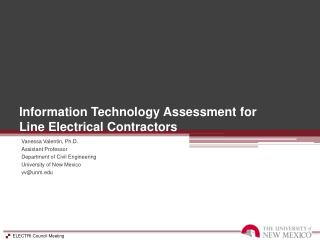 Information Technology Assessment for             Line  Electrical Contractors