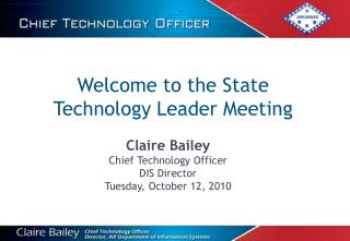 Welcome to the State  Technology Leader Meeting