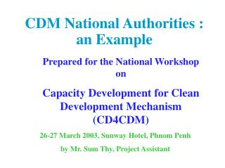 CDM National Authorities : an Example