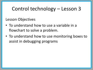 Control technology – Lesson 3