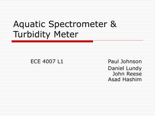 Aquatic Spectrometer & Turbidity Meter