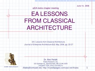 EA LESSONS FROM CLASSICAL ARCHITECTURE