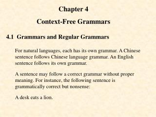 Chapter 4 Context-Free Grammars