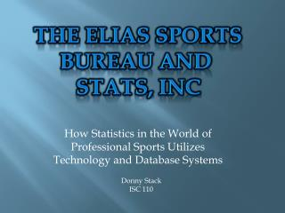How Statistics in the World of Professional Sports Utilizes Technology and Database Systems